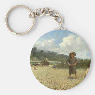 Japanese Laborers on Spreckelsville Plantation Basic Round Button Keychain