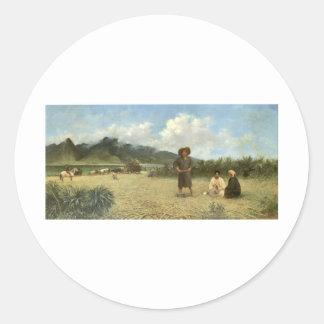Japanese Laborers on Spreckelsville Plantation Classic Round Sticker