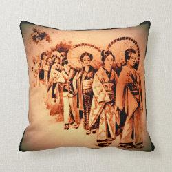 Japanese Ladies in orange Throw Pillow