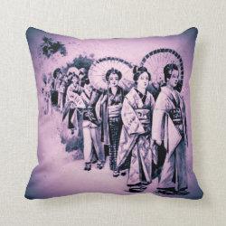 Japanese Ladies in purple Throw Pillow