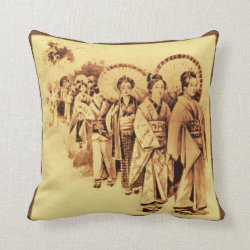 Japanese Ladies in sepia Throw Pillow