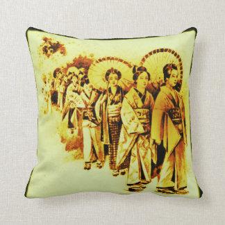Japanese Ladies in yellow Throw Pillow