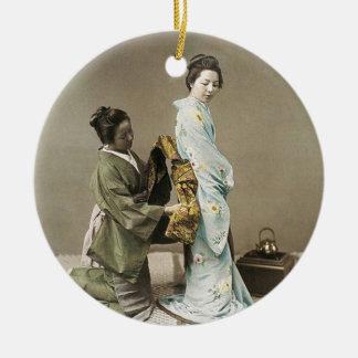 Japanese Lady Geisha Asian Vintage Art Ceramic Ornament