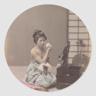 Japanese Lady Geisha Asian Vintage Art Classic Round Sticker