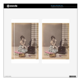 Japanese Lady Geisha Asian Vintage Art Kindle Fire Decals