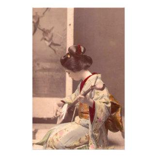 Japanese Lady Geisha Asian Vintage Art Stationery