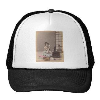 Japanese Lady Geisha Asian Vintage Art Trucker Hat