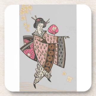 Japanese Lady in Pink Kimono Coasters