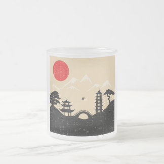 Japanese Landscape - Grunge Style Frosted Glass Coffee Mug