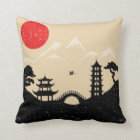 Japanese Landscape - Grunge Style Throw Pillow