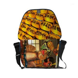 Japanese Lantern and Samurai Messenger Bag