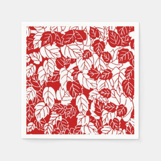 Japanese Leaf Print, Dark Red and White Napkin