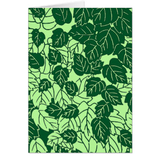 Japanese Leaf Print, Emerald and Lime Green Card