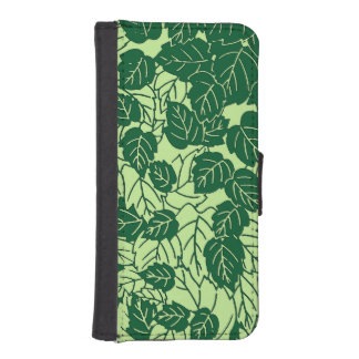 Japanese Leaf Print, Emerald and Lime Green iPhone SE/5/5s Wallet Case