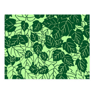 Japanese Leaf Print, Emerald and Lime Green Postcard
