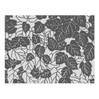 Japanese Leaf Print, Light and Dark Gray / Grey Postcard
