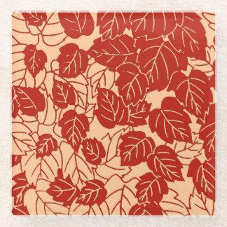 Japanese Leaf Print, Mandarin Orange Glass Coaster
