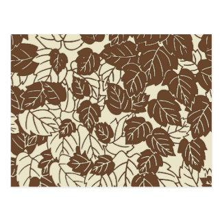 Japanese Leaf Print, Taupe Tan and Beige Postcard