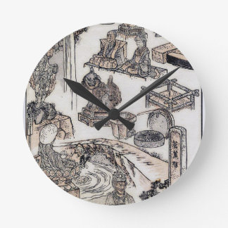 Japanese Life Vintage Woodblock Art Ukiyo-E Round Clocks