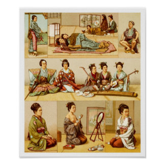 Japanese Lifestyle on Traditional Mat Floors Poster