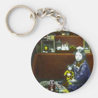 Japanese Little Girl Vintage Magic Lantern Slide Basic Round Button Keychain