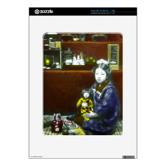 Japanese Little Girl Vintage Magic Lantern Slide iPad Decals