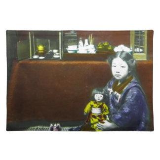Japanese Little Girl Vintage Magic Lantern Slide Placemat