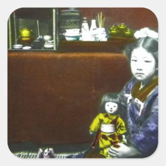 Japanese Little Girl Vintage Magic Lantern Slide Square Sticker