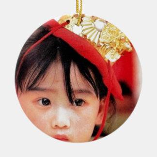 Japanese Little Girl Wearing a Kimono Ceramic Ornament