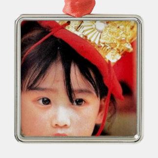 Japanese Little Girl Wearing a Kimono Metal Ornament