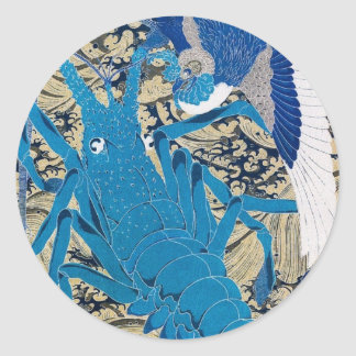 Japanese Lobster and Bird Painting c. 1800's Classic Round Sticker