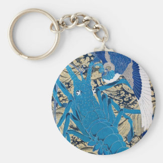 Japanese Lobster and Bird Painting c. 1800's Basic Round Button Keychain