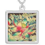 Japanese Lotus Flower Square Pendant Necklace
