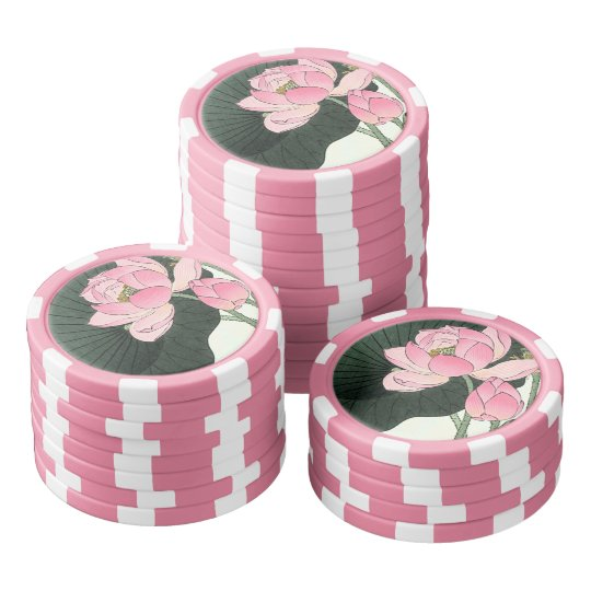 Japanese Lotus Flower Vintage Fine Art Poker Chips Zazzlecom