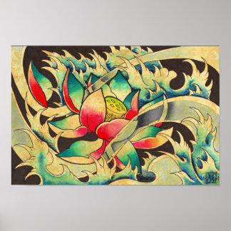 Japanese Lotus in Water Watercolor Poster