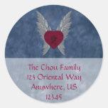 Japanese Love Envelope Seal Round Sticker