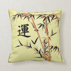 Japanese Luck Bamboo Throw Pillow