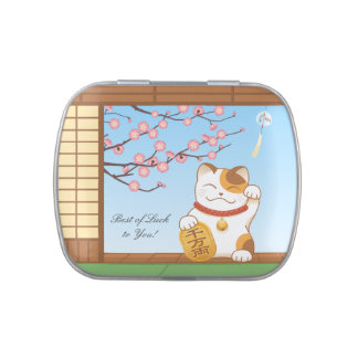 Japanese Lucky Calico Cat, Maneki Neko Candy Tins