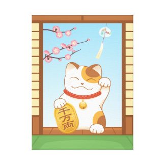 Japanese Lucky Calico Cat, Maneki Neko Canvas Print