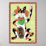 Japanese Lucky Calico Cat Maneki Neko Folk Art Poster