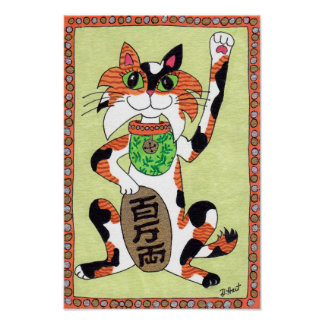 Japanese Lucky Calico Cat Maneki Neko Folk Art Poster