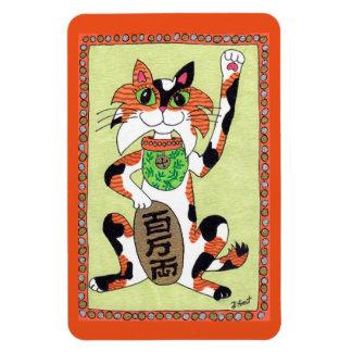 Japanese Lucky Calico Cat Maneki Neko Fridge Art Magnet