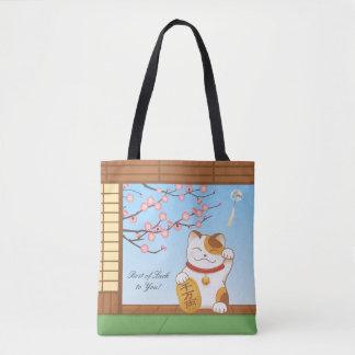 Japanese Lucky Calico Cat, Maneki Neko Tote Bag