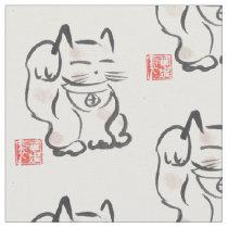 Japanese Lucky Cat Maneki Neko Fabric