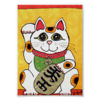 Japanese Lucky Cat Maneki Neko Folk Art Poster