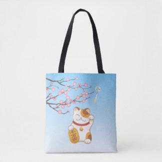 Japanese Lucky Cat, ManekiNeko Tote Bag