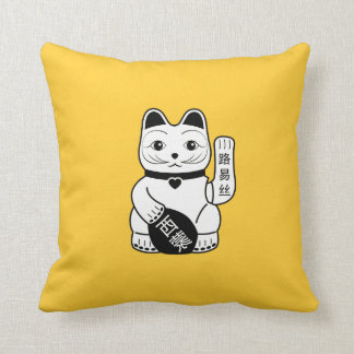 Japanese Lucky Cat Pictogram Throw Pillow