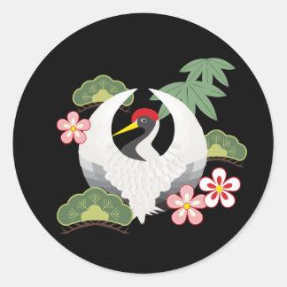 Japanese Lucky Symbols Crane Celebration Black Classic Round Sticker