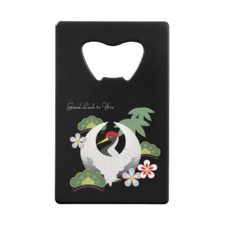 Japanese Lucky Symbols White Crane Bird Black Credit Card Bottle Opener