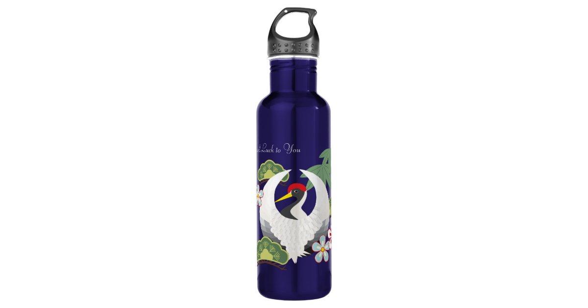 Japanese Lucky Symbols White Crane Bird Custom Stainless Steel Water